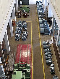 Workshop with Refurbished motor stacked